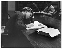 Female student studying at Langdell