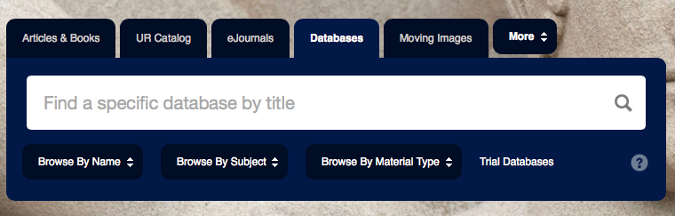 Screen shot of the UR library databases search