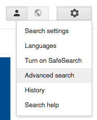Advanced search setting under gear icon