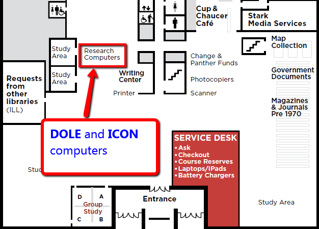 LOcation of Capital IQ on the ground floor of Hillman Library across from the Writing Center (specifically the DOLE and ICON computers