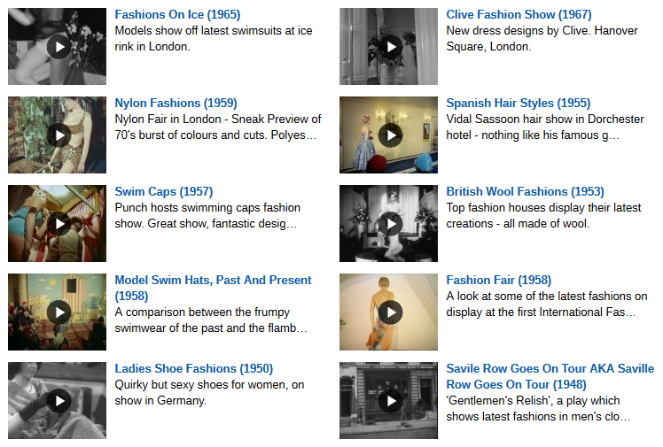 A selection of fashion films in the British Pathe Fashion Archive