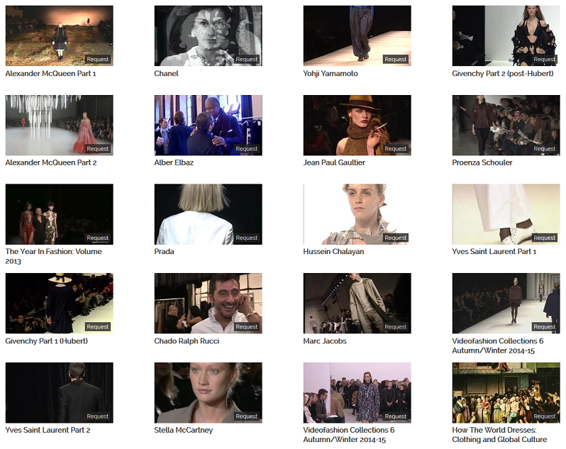 A selection of fashion titles on the Kanopy streaming video platform
