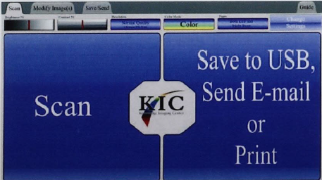 Screenshot of the KIC Scanner Touchscreen Interface