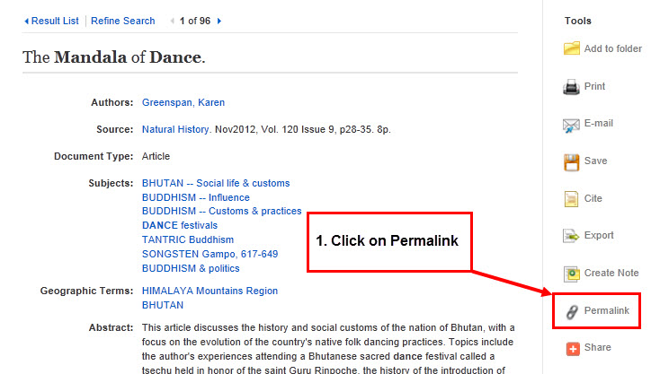"""Screenshot of EBSCO article record with a tool sidebar menu. A red arrow points to """"Permalink"""" in the sidebar menu, with directions to click on the permalink."""