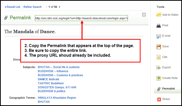 Screenshot of EBSCO article record with the permalink selected, and directions on copying and pasting the link as seen in the following list.