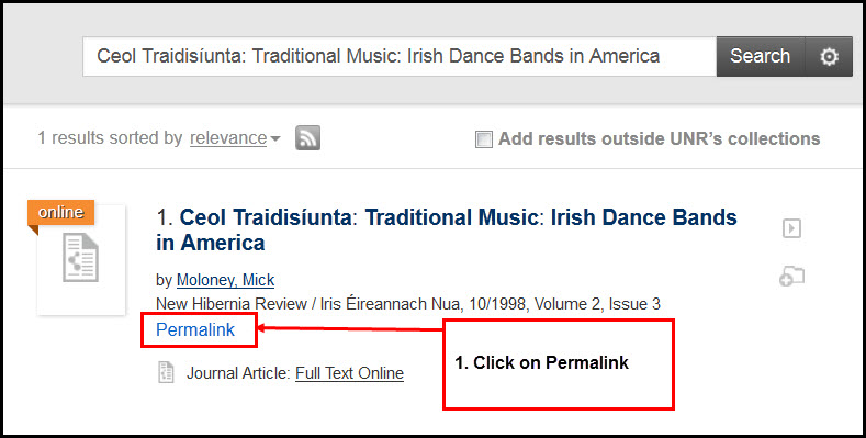 "Screenshot of OneSearch result with a ""Permalink"" link highlighted under the result, and a box with directions to click on permalink."