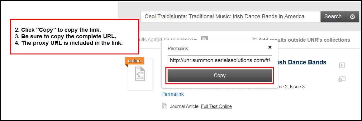 "Screenshot of OneSearch result with the permalink displayed and the ""Copy"" button highlighted, with directions to click to copy the link, be sure to copy the complete URL, and the proxy URL is included in the link."