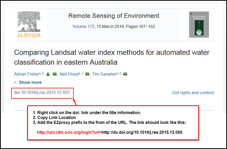 Screenshot of ScienceDirect article result with the DOI link highlighted under the article title. Directions to copy and add the EZproxy prefix are included (see below)