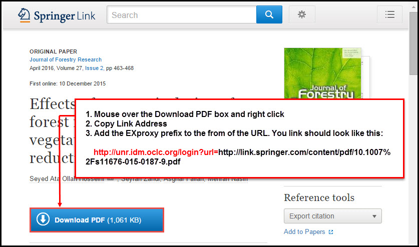 "Screenshot of SpringerLink article record with a ""Download PDF"" button. An arrow points to the ""Download PDF"" button with directions on how to download the proxied link, as described in the directions below."