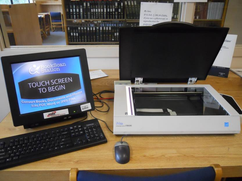 Photo of a scanning station in the UMass Law Library.