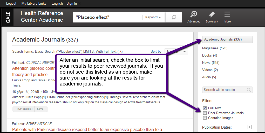 Instead of going to the advanced search page, you can conduct a search and then limit your results to peer reviewed journals.  On the results page of Gale's Health Reference Center Academic there is a filter section in the column on the right.  Check the box to limit your results to peer reviewed journals.  If that is not listed as an option, make sure you have chosen academic journals from the list of result types above the filters.