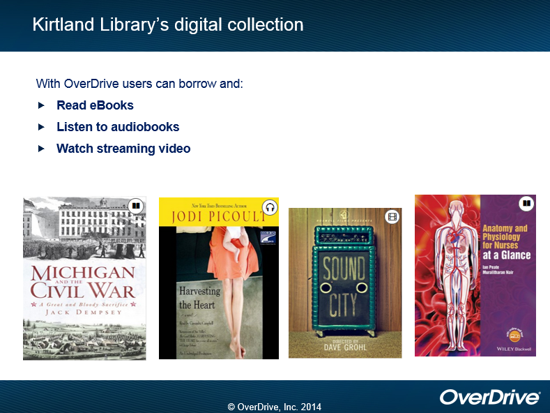 Kirtland Library's digital collection.  With OverDrive users can borrow and: Read eBooks, Listen to audiobooks, watch streaming video.  Titles include the ebook Michigan and the Civil War, Jodi Picoult's Harveting the Heart in audio, the film Sound City, and the ebook Anatomy and Physiology for Nurses at a Glance.  copyright OverDrive, Inc. 2014