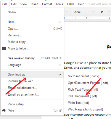 Picture of Google Docs showing download as PDF option in File menu