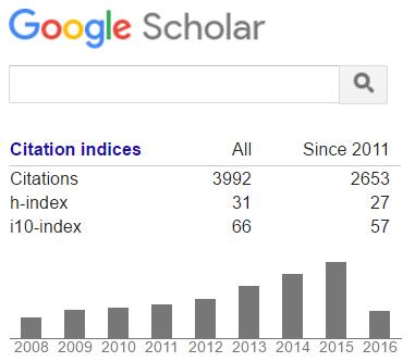 Example of Google Scholar profile metrics