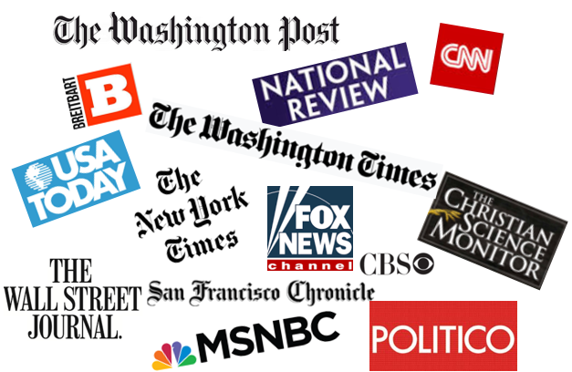 Multiple news outlet logos