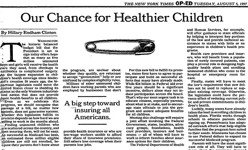 Op-ed Our Chance for Healthier Children
