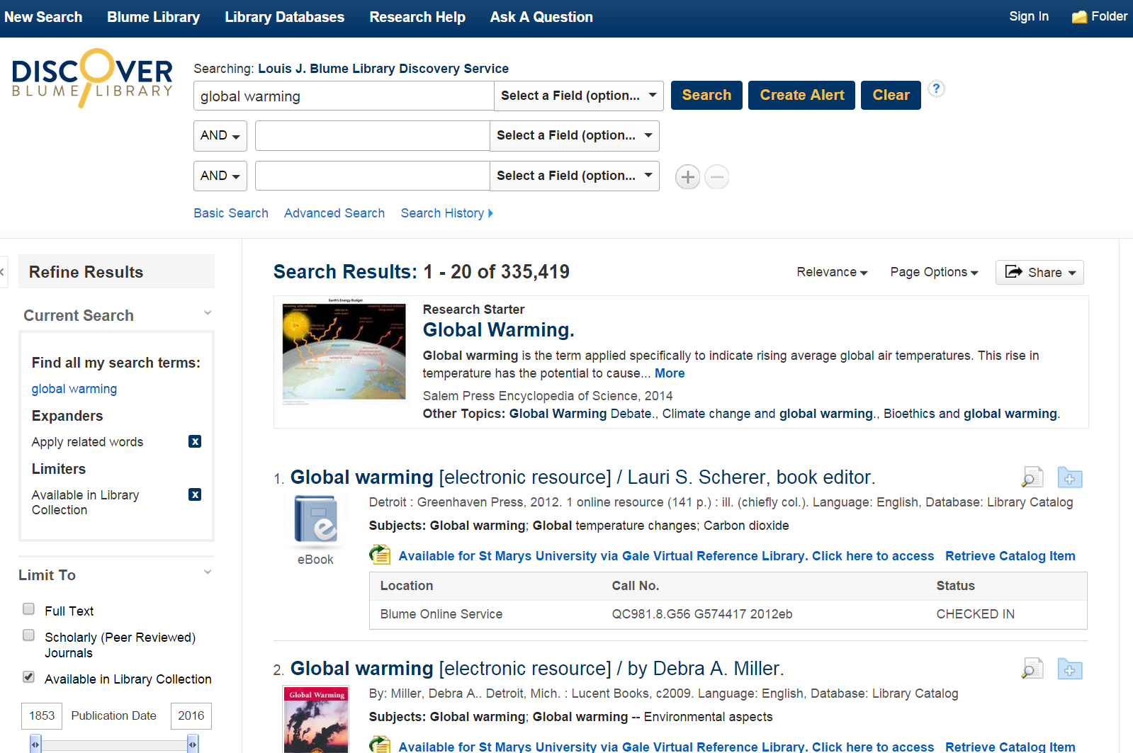 Discover search example using the keyword phrase global warming