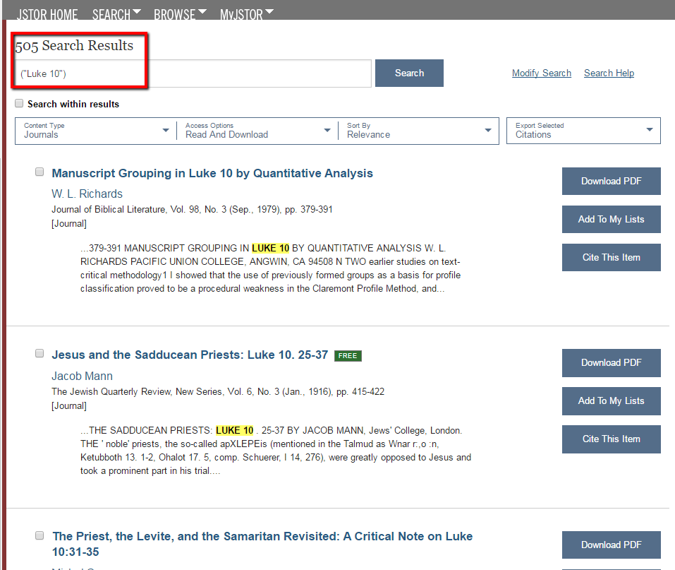 JSTOR Scripture Search Results