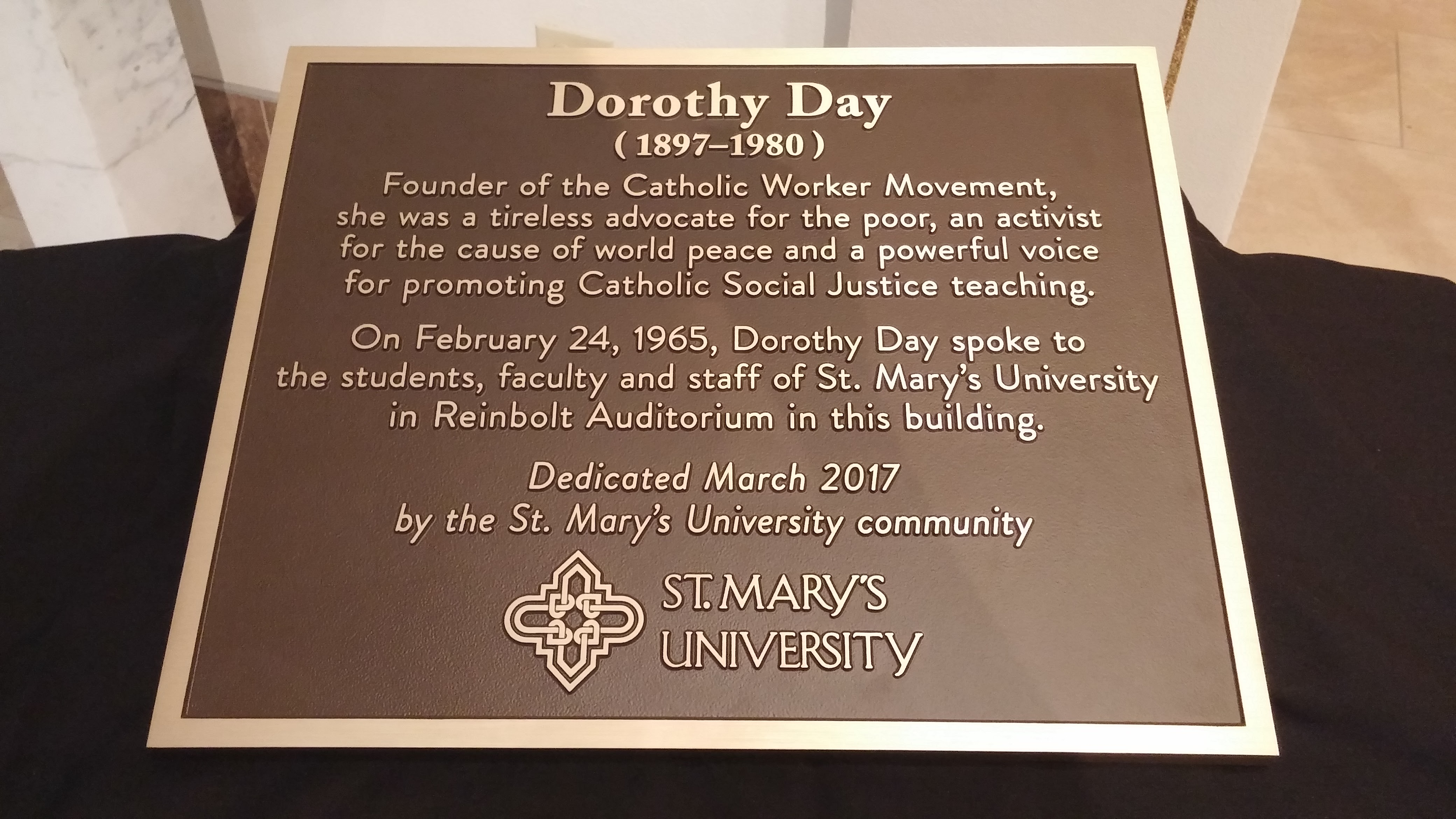 Plaque commemorating Dorothy Day's visit to St. Mary's University in 1965