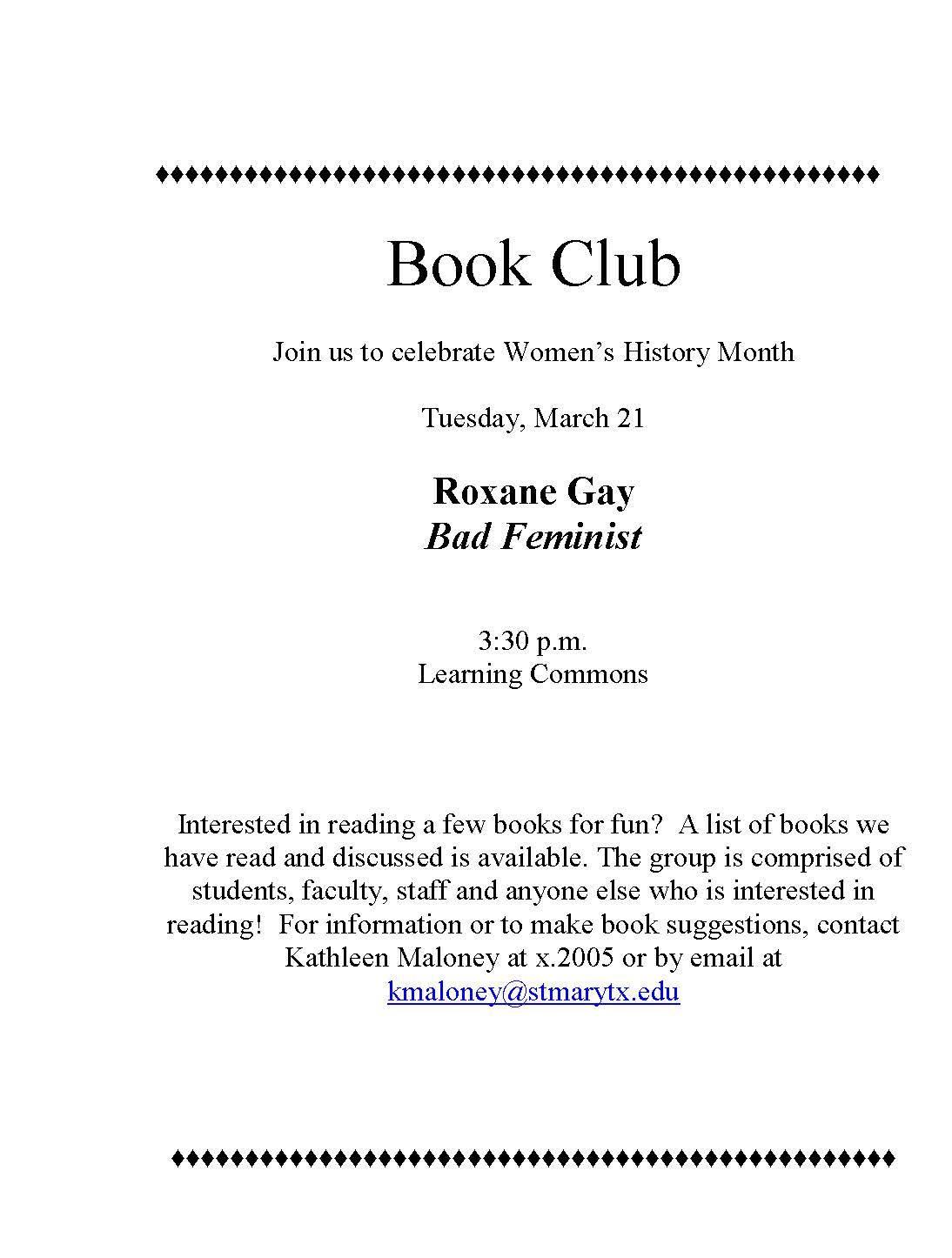 Bad Feminist Book Club Flyer