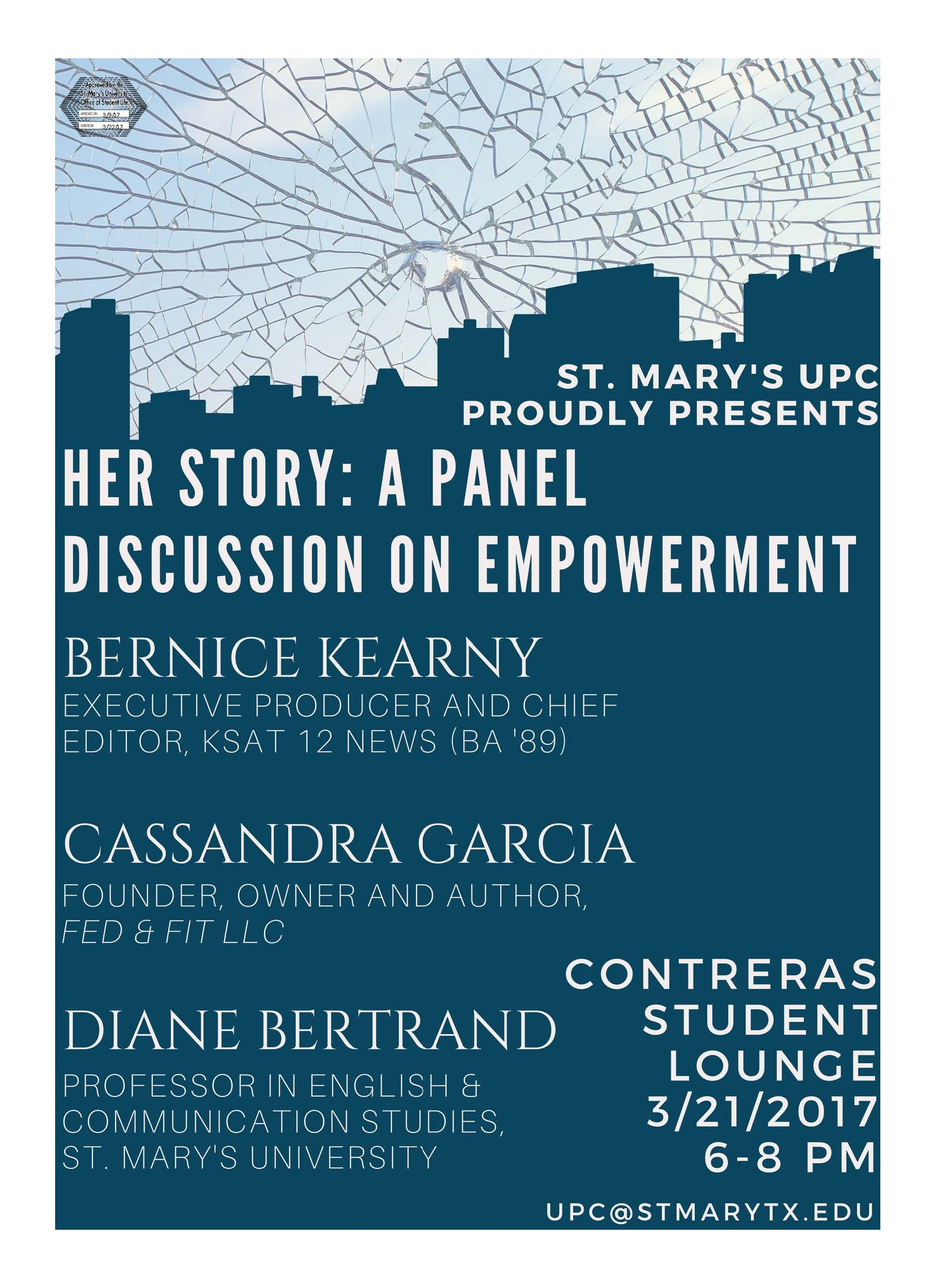flyer for Her Story:  A Panel Discussion on Empowerment