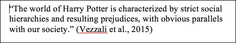 An APA in text citation can be found at the end of a sentence, like (Vezzali et al., 2015)