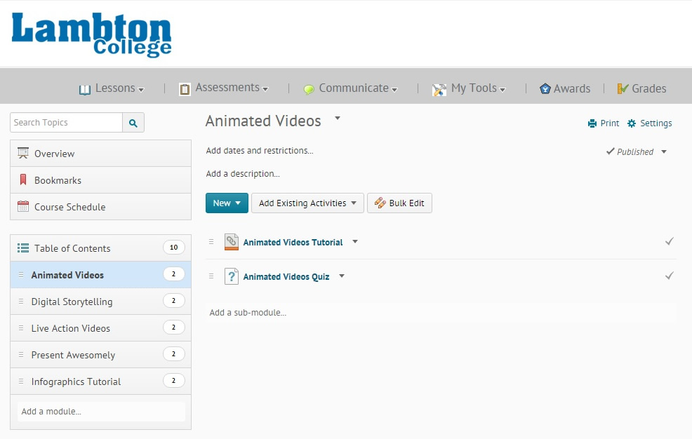 A screenshot of what the cartridge looks like imported in the Lambton College D2L system