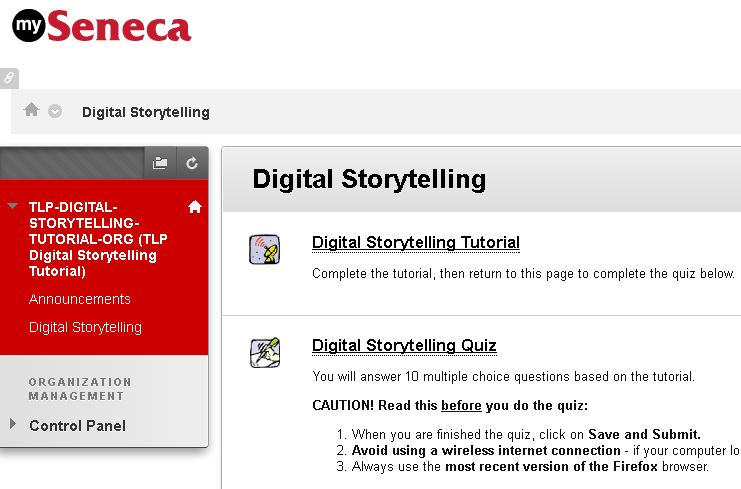 Image shows a link to the digital storytelling tutorial, and a link to the quiz.