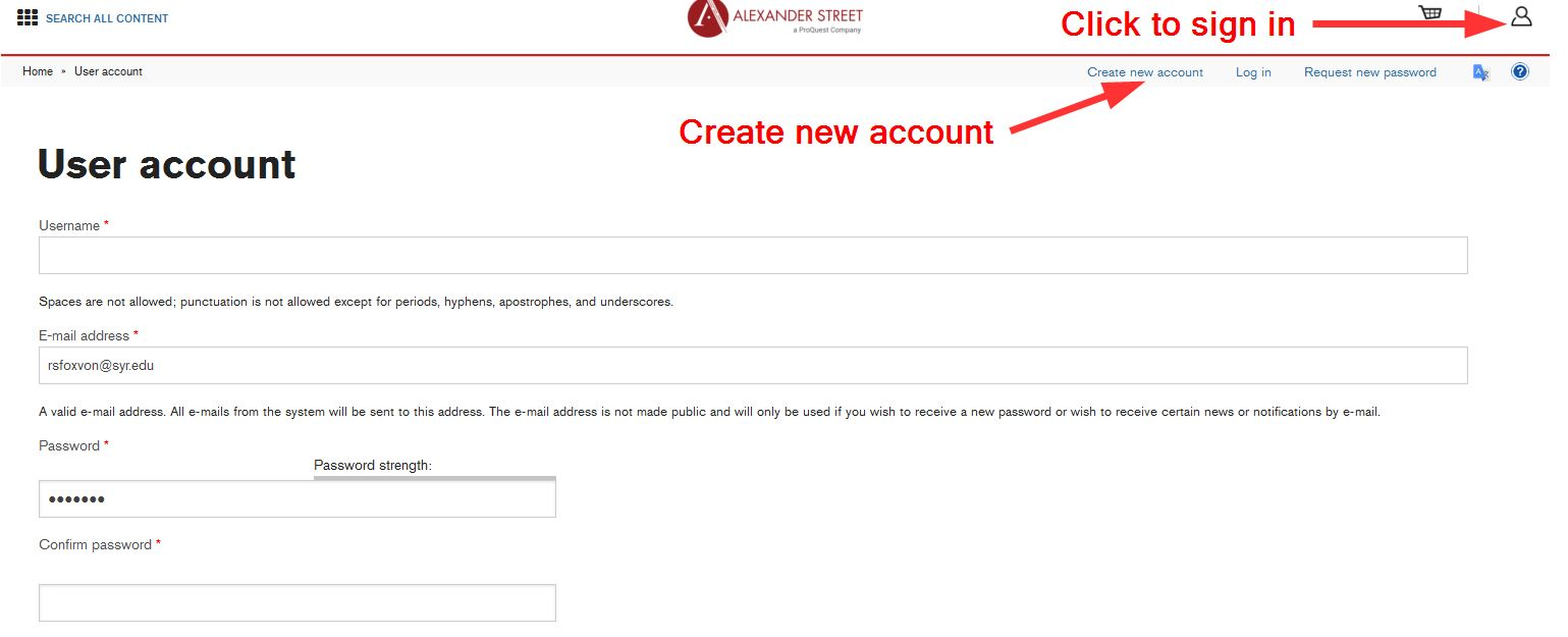 User Account screen in Alexander Street Press