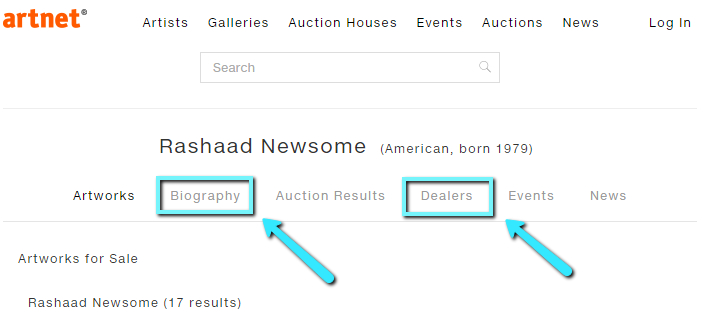 Example search for artist Rashaad Newsome on artnet's A-Z artist list.