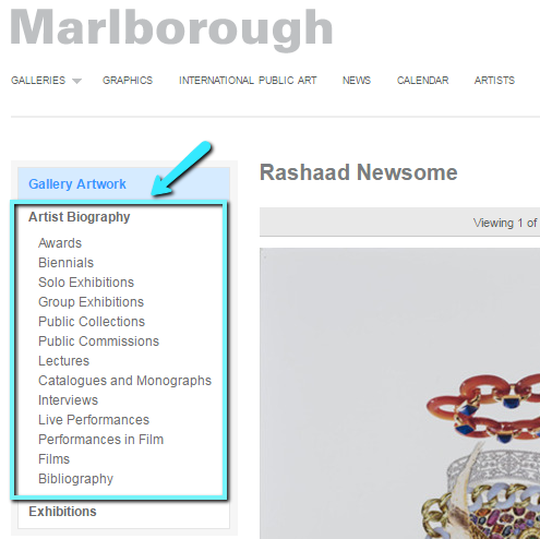 The artist Rashaad Newsome's page on the Marlborough gallery website