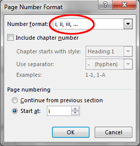 How do I number pages differently in the various sections of my