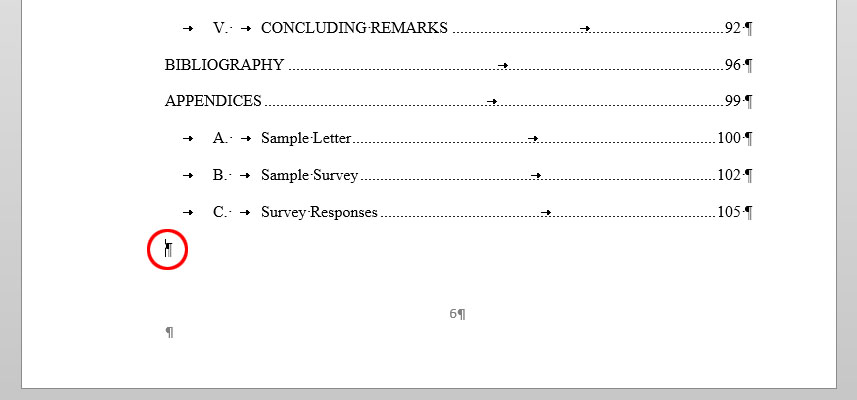 Dissertation contents page layout