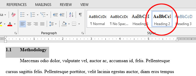 How do I create an automatic Table of Contents in Word 2013