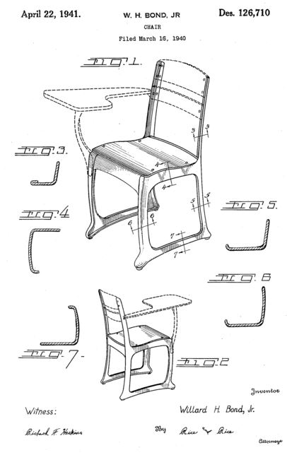 Design for a Chair Patent Number US Des. 126710