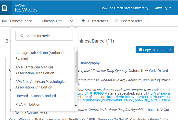 The dropdown next to the bibliography style in the top nav lets you choose the style you need