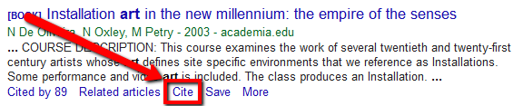 In Google Scholar, the cite option will export to RefWorks