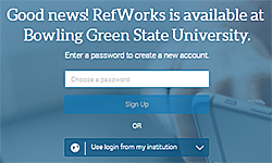 RefWorks sign in page says 'Good news! RefWorks is available at Bowling Green State University.'