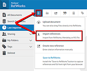 Use the plus sign in the RefWorks navigation bar and choose import references