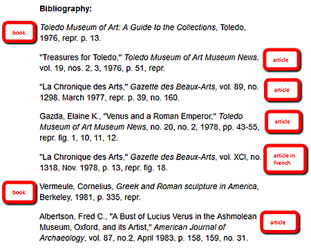 Bibliography section highlighting the different types of sources