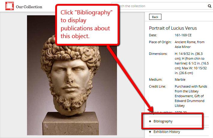 Museum database screenshot with a bibliography highlighted, text reading 'click bibliography to display publications about this object'