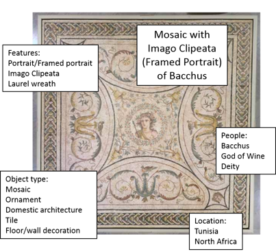 Mosaic with Imago Clipeata (Framed Portrait) of Bacchus with keywords: Features: portrait/framed portrait, Imago Clipeata, Laurel wreath, People: Bacchus, God of Wine, Deity, Location: Tunisia, North Africa, Object Type: Mosaic, Ornament, Domestic Architecture, Tile, floor/wall decoration