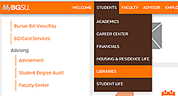 MyBGSU Students dropdown menu highlighting libraries