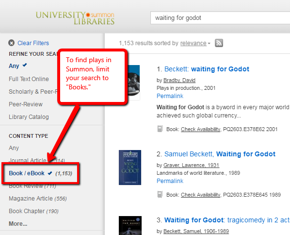 Summon screenshot: To find plays in Summon, limit your search to 'Books'.