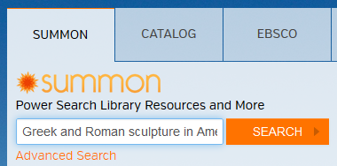 Screenshot of book title pasted into Summon search box on library home page