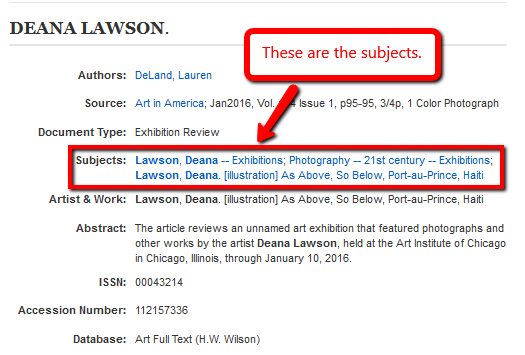 In EBSCO, subject headings appear in the middle of the page on the detailed record.