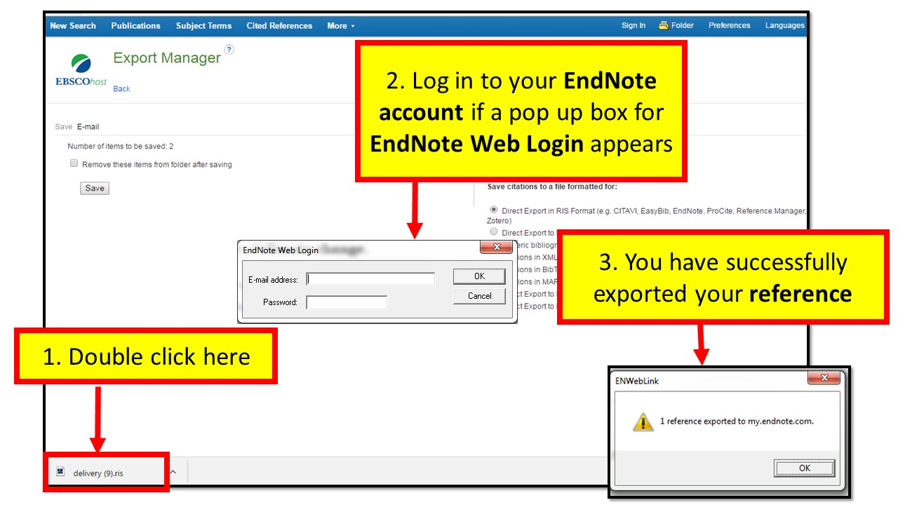 collecting references endnote basic research guides at hawaii you follow this process for collecting references from all ebsco databases most other databases also have an export function when choosing an export