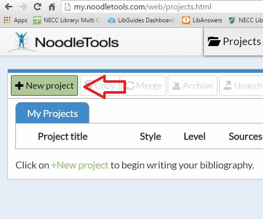 NoodleTools creating a project screen