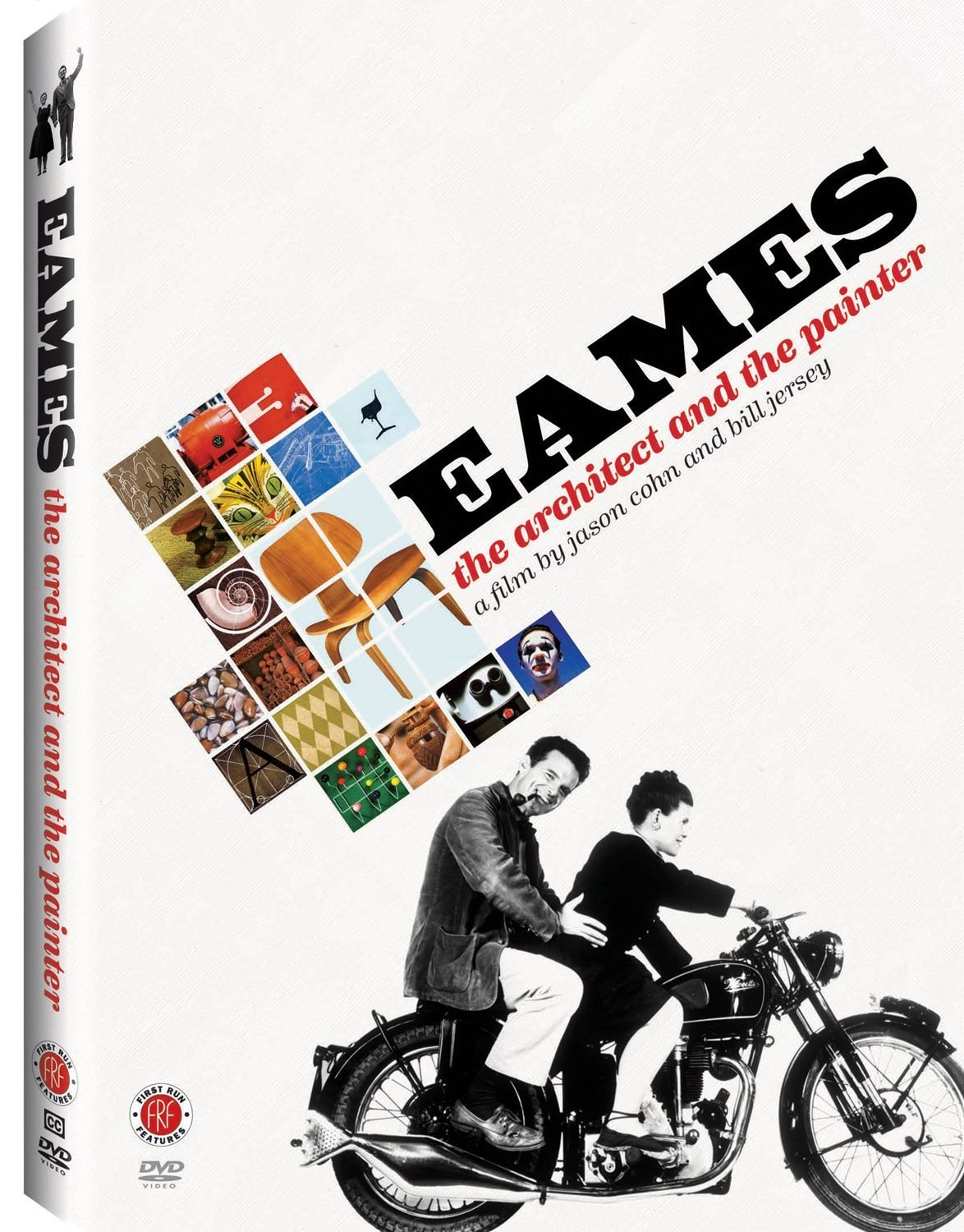 A DVD cover with a black and white photo of Charles and Ray Eames riding a motorcycle. The title text is set diagonally next to thumbnail images of the Eames' products.