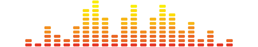 A red, orange, and yellow illustation of an audio levels monitor, with columns of varying heights.